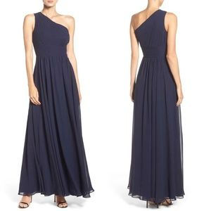 NEW ELIZA J Navy CHIFFON Pleated ONE SHOULDER GOWN